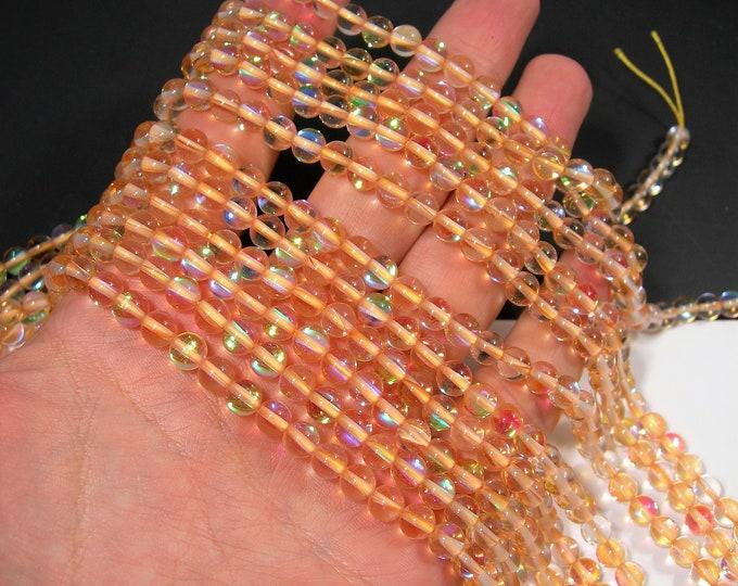 Lemon yellow Mystic aura quartz - 6mm round - Holographic quartz - 63 Beads - full strand - RFG1925