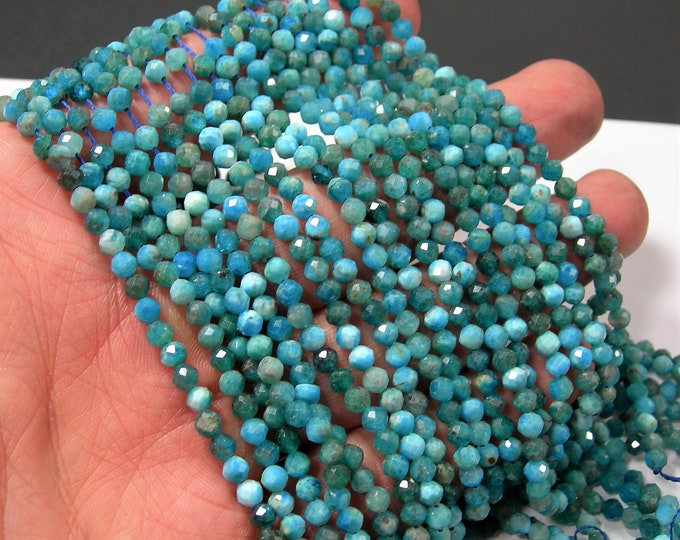 Apatite - 4mm(3.7mm) faceted round beads - full strand  107 beads - micro facted Blue Apatite - PG333