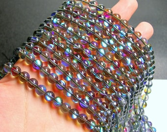 Mystic aura quartz grey - 8mm round - Holographic quartz - 48 Beads - full strand - RFG837