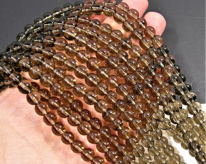 Smoky round crystal glass  - 50 pcs - 8 mm - AA quality - full strand  - RFG1812