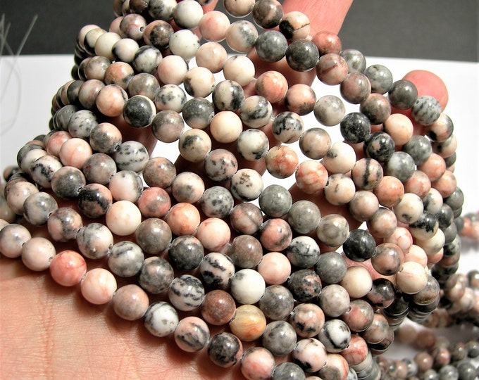 Pink zebra jasper- 8 mm round beads - full strand - 48 beads - WHOLESALE DEAL - RFG349