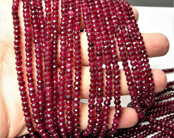 Ruby Jade 3mmx4mm faceted rondelle beads - full strand - 116 beads - Color jade - RFG1594