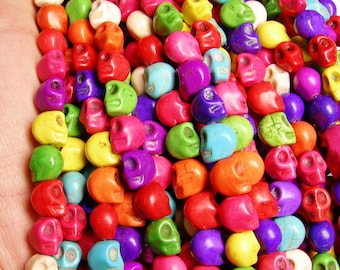 Howlite skull - multicolor  - 12mm  -1 full strand - 34 beads