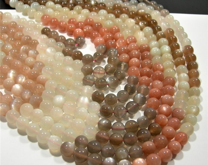 Moonstone - 8mm  round beads - AA Quality - full strand 49 beads - multi tone mix moonstone - RFG1867