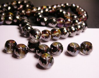 Crystal faceted rondelle barrel  - 6  pcs - 11mm by 8.5mm - AA quality - Ab finish - mystic charcoal - AAABC3