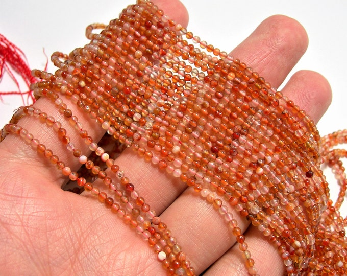 Carnelian gemstone 2mm(2.1mm) round - full strand - 181 pcs - A quality - mix tone - PG35
