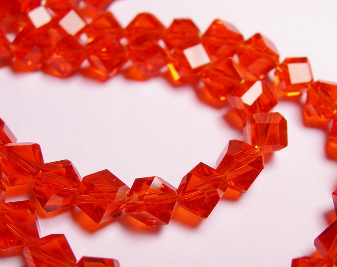Crystal faceted cube  -  70 pcs - full  strand - 6 mm - A quality - tangerine orange - corner drill