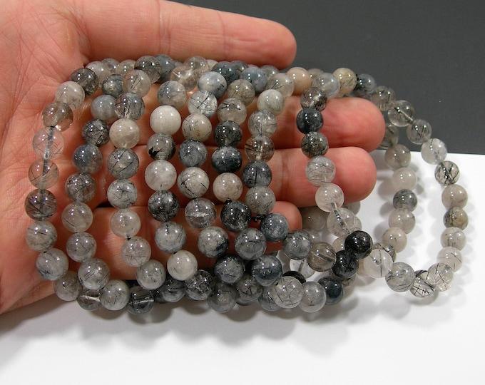 Tourmalinated Quartz - 8mm round beads - 23 beads - 1 set - Mix blue gray rutilated quartz - HSG219