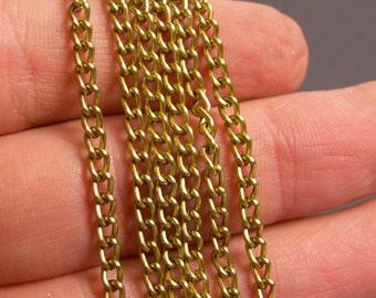 Brass chain - lead free nickel free won't tarnish .1 meter-3.3 feet made from aluminum - NTAC124