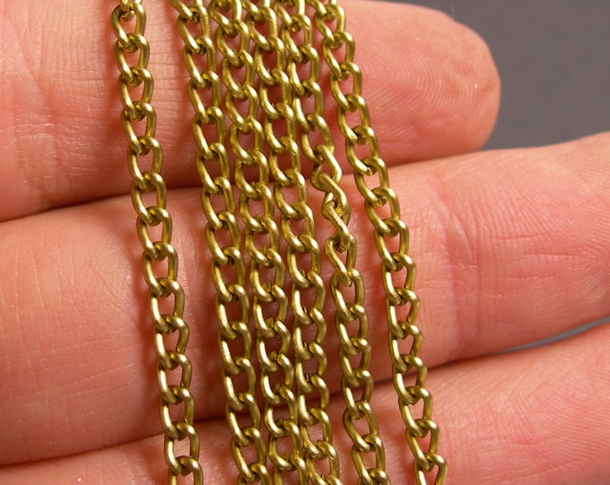 Brass chain - lead free nickel free won't tarnish .1 meter-3.3 feet made from aluminum - NTAC124