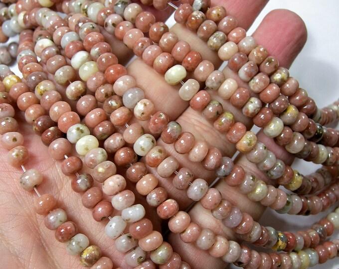 Plum Blossom Jasper - 6mmx4mm  rondelle - 1 full strand - 88 beads - Cherry Blossom Jasper - RFG1628