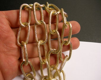 Gold chain - 1 meter-3.3 feet  - made from aluminum - textured - big oval link -  NTAC134