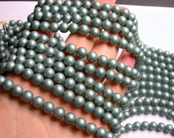 Pearl - 8 mm round - Satin Matte Pearl  - Green - 1 full strand - 49 beads - SPT22 - Shell pearl