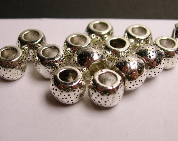 12 dot textured silver  beads - 12 pcs - large hole - ASA83