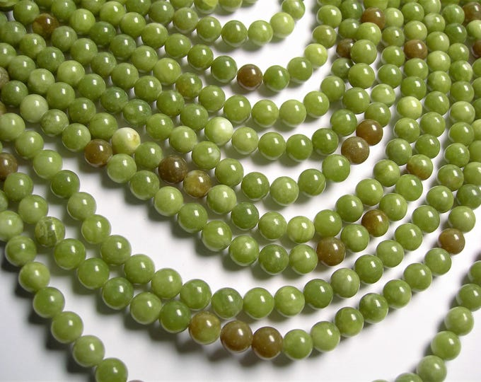 Serpentine Jade -  8mm - round  - A quality  - 48  beads - full strand - Mix tone - RFG1369