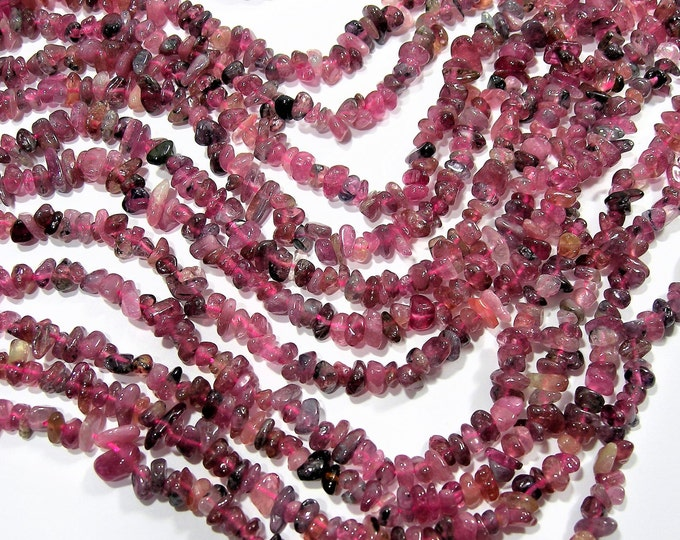 Tourmaline gemstone - chip stone - A quality - full strand - dark pink tourmaline - RFG1820