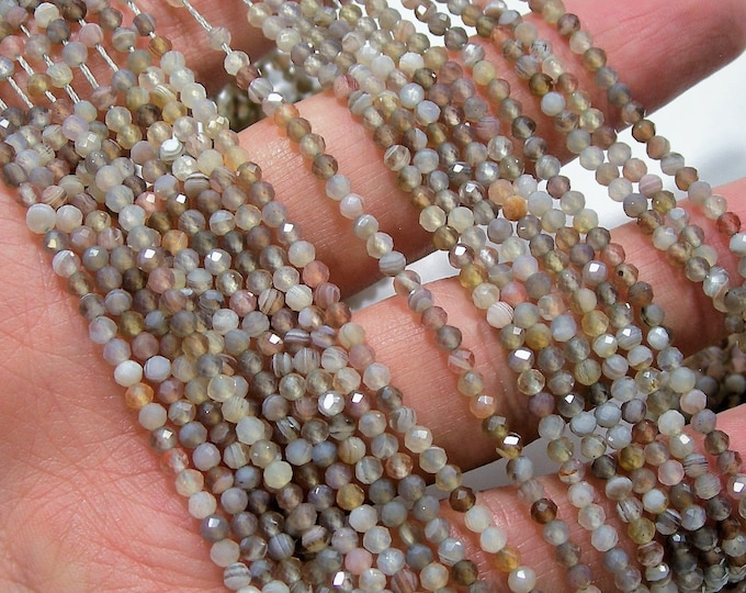 Botswana agate - 3mm(2.7mm) faceted round beads -  full strand - 147 beads - Micro Faceted - AA Quality - PG214
