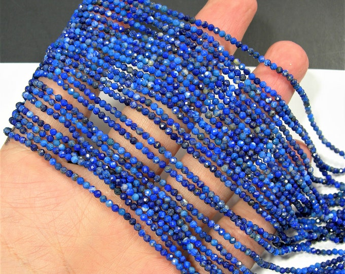Lapis Lazuli - 2mm faceted round beads - full strand -  172 beads - micro facted Lapis Lazuli  - PG137