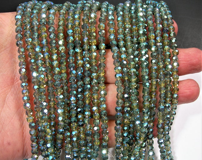 Crystal - round faceted 4mm beads - 98 beads - aqua spring green ab mystic - Full strand - RFG1973