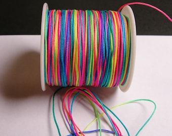 Nylon Cord - knotting/beading cord - 1mm - 70 meter - 230 foot - Rainbow - N3