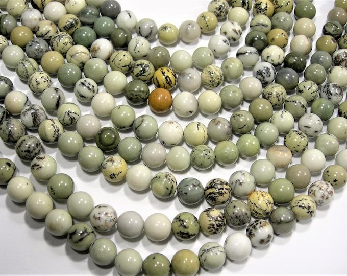 Dendritic jasper - 8mm(8.5mm) round beads - full strand - Pine tree Dendritic jasper - 48 beads - RFG1891