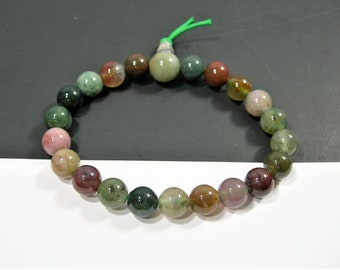 Indian Agate - 8mm round beads - 21 beads - 1 guru beads  - 1 set - A quality - HSG109
