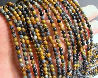 Black Picasso Jasper - 4mm - round beads - 100 beads - full  strand - RFG575