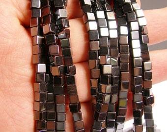 Hematite square 6x6mm - full strand - 67 beads - cube hematite -  AA quality - CHG33