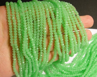 Crystal faceted rondelle - 135 pcs - 17 inch strand - 4 mm - A quality - green  - FCRM52