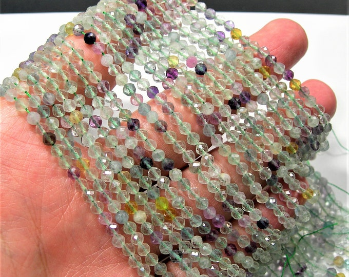 Fluorite - 4mm(3.7mm) micro faceted round beads - 105 beads - Full strand - A Quality - PG237