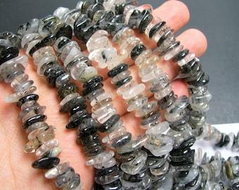 Tourmalinated quartz - full strand - disc chip stone - 10 mm -  PSC111