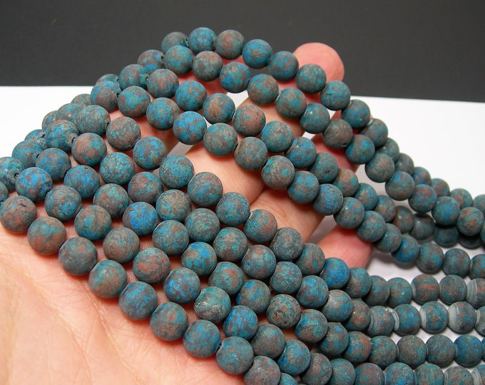 Blue Calsilica Matte 8mm(8.5mm) - 46 beads per strand - full strand - turquoise snowflake obsidian - RFG2201