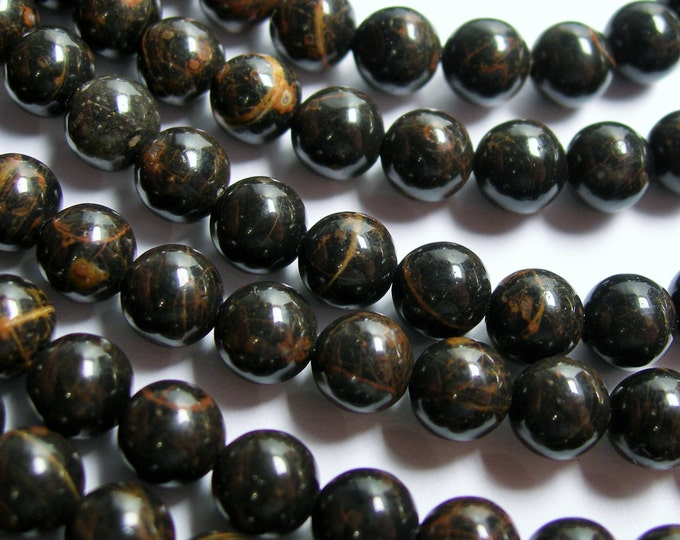 Obsidian - 6 mm  round beads -1 full strand - 67 beads - A quality - black brown obsidian - RFG291