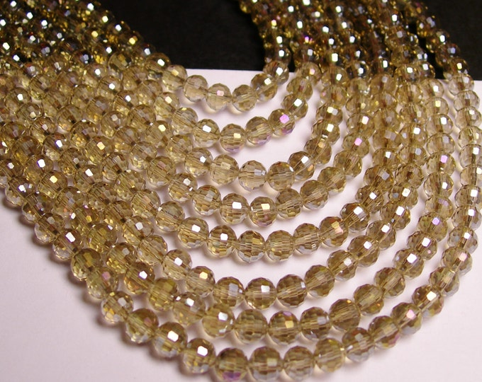 Crystal - round faceted 6mm beads - 72 beads - AA quality -  - Full strand - ab light topaz -  FCABR7