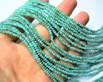 Crystal - rondelle faceted 3mm x  2mm beads - 196 beads - AA quality - dual tone turquoise blue - CAA2G198