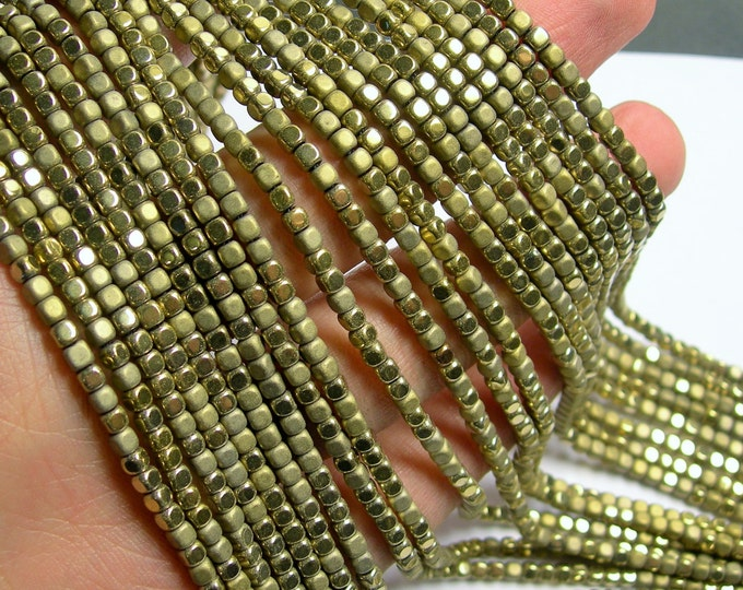 Hematite Gold - 3mm cube beads -  full strand - 140 beads - AA quality - matte and polished  - PHG246