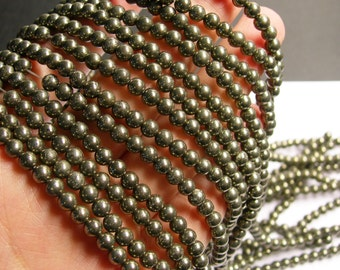 Pyrite - 5 mm round beads -1 full strand - 84  beads - A quality - RFG810