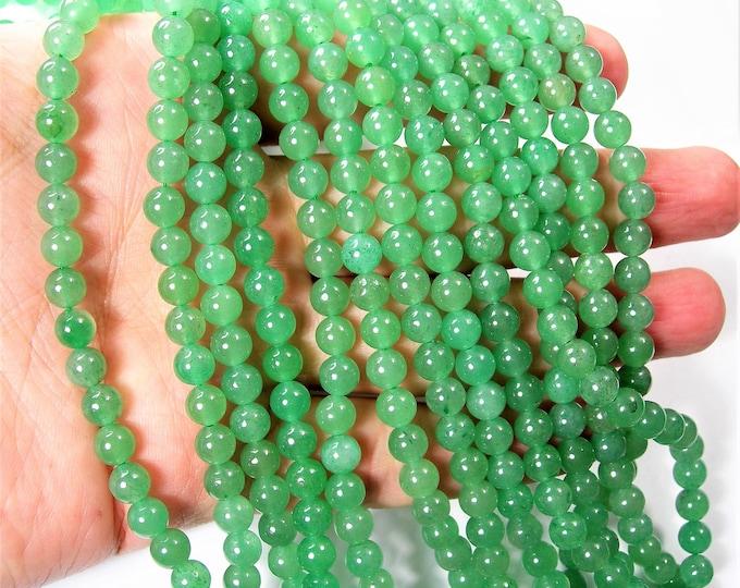 Green Aventurine 6mm round beads -1 full strand - 64 beads - A quality - RFG864