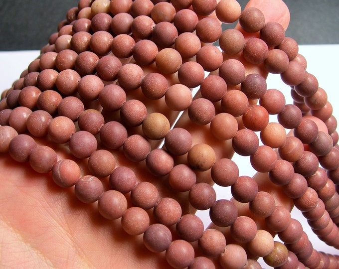 African Blood Jasper matte - 8 mm round beads - full strand - 49 beads - A quality - Matte - RFG870