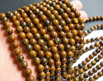 Yelllow tiger iron -  8 mm round beads -1 full strand - 50 beads - A quality - RFG329