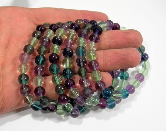 Fluorite - 1 set - 8mm  - 23 beads - AA quality - Rainbow Fluorite - HSG141