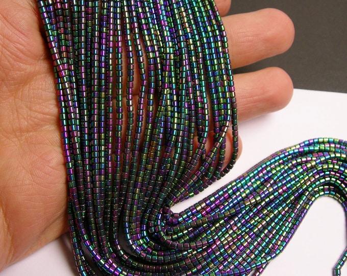 Hematite rainbow - 2mm tube beads - full strand - 200 beads - AA quality - PHG97