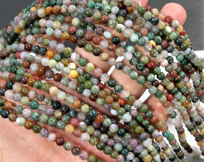 Indian agate - 4mm (4.3mm) round beads -  89 beads -  Full strand - Fancy jasper - RFG789
