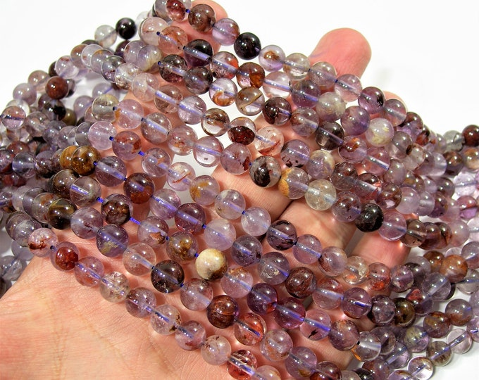 Super seven - Cacoxenite amethyst - 8mm - full strand - 49 beads - Purple Rutilated Quartz - RFG1749