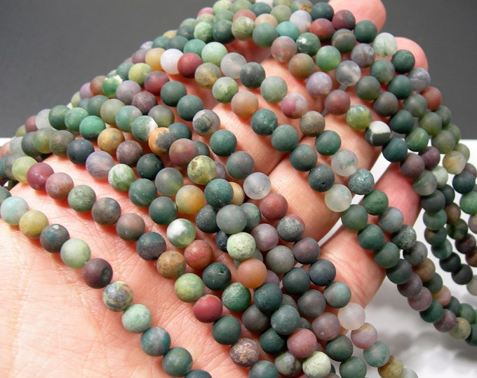 Indian agate Matte 6mm round beads -  62 beads -  full strand - matte - RFG1429