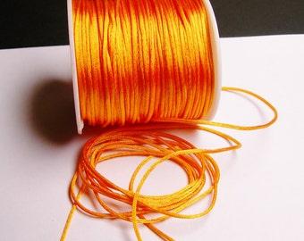 Satin Rattail Cord - knotting/beading cord -1.5mm - 65 meter - 213 foot - vivid light orange - SSC6