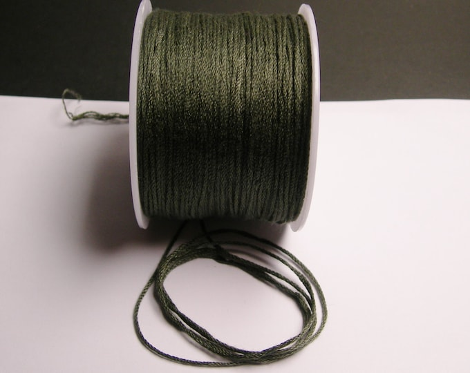 Cotton Cord - knotting - embroidery cord - 1mm - 120 meter - 390 foot - Grey green - CTN3