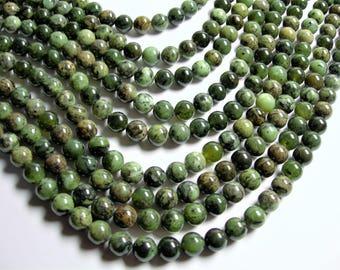 Jade nephrite  -10mm round beads - 1 full strand - 39 beads - Dendritic Jade  - RFG1307