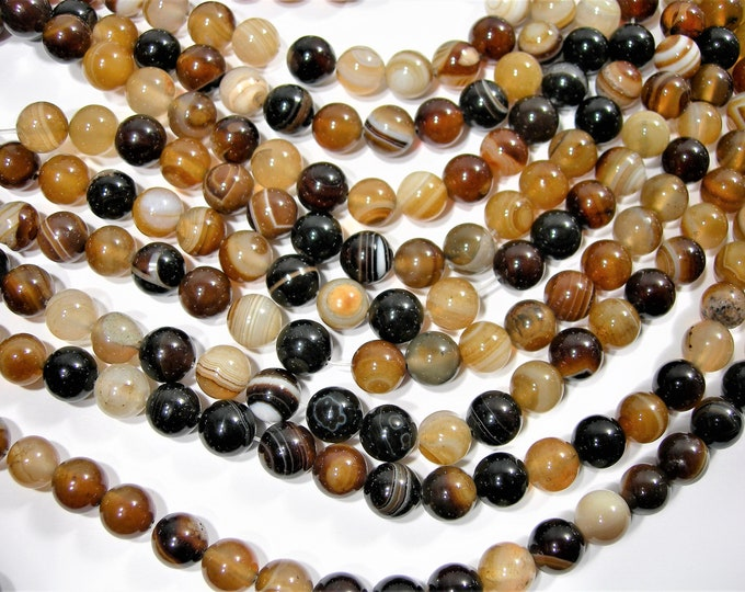 Brown Banded Agate - 8mm  round beads - full strand - 48 beads -  RFG1833