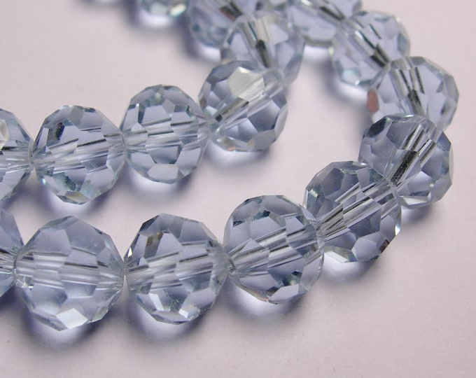 Crystal round faceted 8mm beads - 72 beads - AA quality - ice blue - Full strand